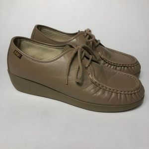 SAS Siesta Mocha Sz 9.5WW Oxford Moccasin Toe Shoe